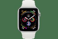 APPLE Watch Series 4 (GPS + Cellular) 44mm Smartwatch Aluminium Kunststoff, 140-210 mm, Armband: Weiß, Gehäuse: Silber
