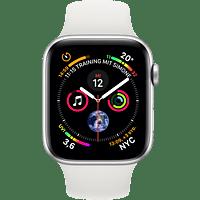 APPLE Watch Series 4 GPS + Cellular Silber, 44 mm Aluminiumgehäuse mit Sportarmband Weiß