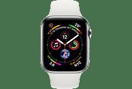 APPLE Watch Series 4 GPS + Cellular Silber, 44 mm Edelstahlgehäuse mit Sportarmband Weiß