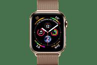 APPLE Watch Series 4 GPS + Cellular Gold, 44 mm Edelstahlgehäuse mit Milanaise-Armband Gold