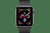 APPLE Watch Series 4 (GPS + Cellular) 40 mm Smartwatch Edelstahl Milanaise, 130-200 mm, Armband: Schwarz, Gehäuse: Schwarz