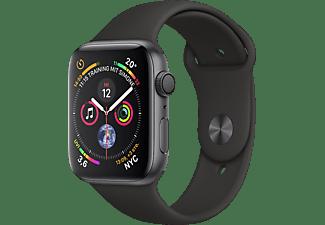 APPLE Watch Series 4 44mm Smartwatch Aluminium Kunststoff, 140-210 mm, Armband: Schwarz, Gehäuse: Dunkelgrau