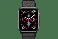 APPLE Watch Series 4 44mm Smartwatch Aluminium gewebtes Nylon, 140-210 mm, Armband: Schwarz, Gehäuse: Dunkelgrau