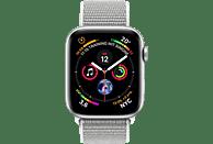 APPLE Watch Series 4 44mm Smartwatch Aluminium gewebtes Nylon, 140-210 mm, Armband: Silber, Gehäuse: Silber