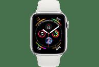 APPLE Watch Series 4 44mm Smartwatch Aluminium Kunststoff, 140-210 mm, Armband: Weiß, Gehäuse: Silber