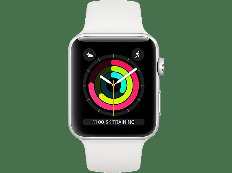 APPLE  Watch Series 3 42 mm Smartwatch Aluminium, Kunststoff, 140-210 mm, Armband: Weiß / Gehäuse: Silber