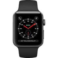 APPLE  Watch Series 3 (GPS + Cellular) 42 mm Smartwatch Aluminium, Kunststoff, 140-210 mm, Armband: Schwarz / Gehäuse: Dunkelgrau