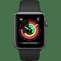 APPLE  Watch Series 3 38 mm Smartwatch Aluminium, Kunststoff, 140-210 mm, Armband: Schwarz / Gehäuse: Dunkelgrau