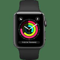 APPLE  Watch Series 3 42 mm Smartwatch Aluminium, Kunststoff, 140-210 mm, Armband: Schwarz / Gehäuse: Dunkelgrau
