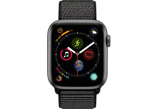 APPLE Watch Series 4 44mm spacegrijs aluminium / zwarte sportloop