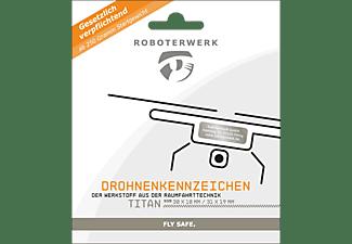 ROBOTERWERK Drohnenkennzeichen aus Titan-Gutschein Plakette, Kennzeichen Silber
