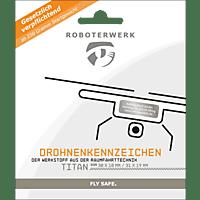 ROBOTERWERK Drohnenkennzeichen aus Titan-Gutschein Plakette, Kennzeichen