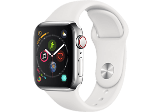 APPLE Watch Series 4 GPS+Cellular eSIM 40mm Rostfri Stålboett -  Sportband i Vitt