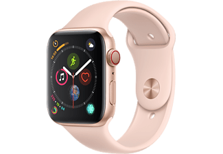 APPLE Watch Series 4 GPS + Cellular eSIM 44mm Aluminiumboett i Guld - Sportband i Sandrosa