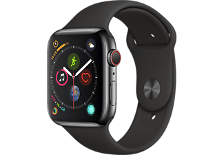 APPLE Watch Series 4 GPS+Cellular eSIM 44mm Rostfri Stålboett i Rymdsvart -  Sportband i Svart