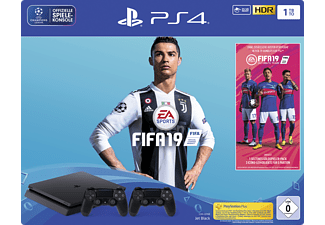 SONY PlayStation 4 Slim 1TB Schwarz + FIFA 19 + 2. DualShock4 Controller + 14 tägiger PS Plus Voucher
