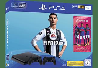 SONY PlayStation 4 Slim 1TB Schwarz + FIFA 19 + 2. DualShock4 Controller + 14 tägiger PS Plus Voucher