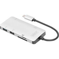 DIGITUS DA-70874 USB Typ-C, HDMI UHD, USB 3.0, Kartenleser, PD 3.0 Grafikadapter