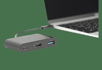 DIGITUS DA-70855 USB Typ-C auf HDMI (Ultra HD), Typ-C (PD 2.0, Gen1), USB A 3.0  Multiport Adapter