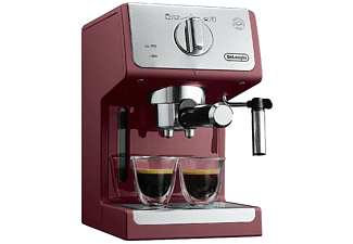 Cafetera express - De Longhi ECP33.21.R, 1100W, 15 bares, 1.1 L, Sistema Cappuccino, Rojo