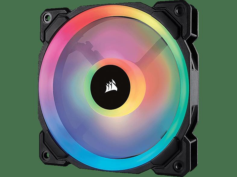 CORSAIR LL120 mit doppelter RGB-Lichtschleife LED Gehäuselüfter, Schwarz Mehrfarbig