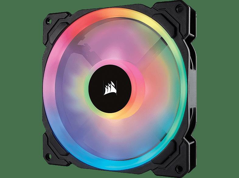 CORSAIR LL140 mit doppelter RGB-Lichtschleife LED Gehäuselüfter, Schwarz Mehrfarbig
