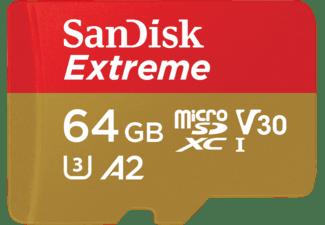 SanDisk Extreme A2: Micro-SDXC Speicherkarte, 64 GB, 160 MB/s, UHS Class 3, Video Speed Class 30