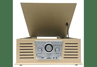 Tocadiscos - Sunstech PXR42CD, 3 velocidades, 5 W, Bluetooth, CD, USB, Radio, Madera Retro
