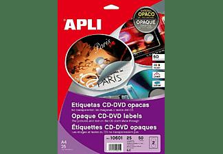 APLI Etiquetas Adhesivas - APLI Etiquetas adhesivas con dorso opaco para CD-DVD para Inkjet Laser