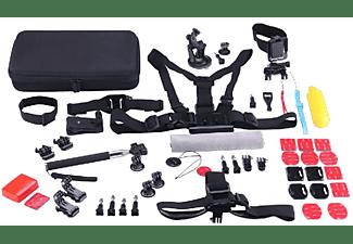 Kit accesorios cámara deportiva - SK8 Cam PACKSK02, 53 accesorios, Trípode, Soportes, Arnés,