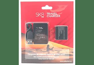 Base cargadora - SK8 Cam Travel Charger ASCAM002, 1050 mAh + Batería, Negro