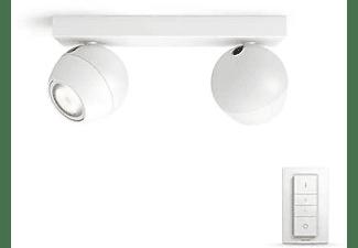Foco - Philips Hue Buckram, Doble, Inteligente, LED blanco, Con mando, Luz blanca de cálida a fría