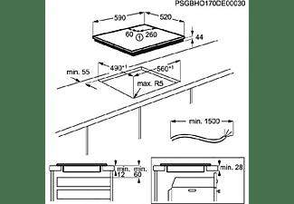 Encimera - Electrolux EIV633, Inducción, Eléctrica, 3 zonas, 60 cm, Biselada, Negro