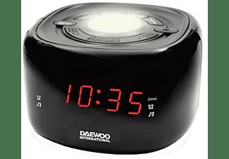 Radio despertador - Daewoo DCR-440B, Digital, Doble alarma, Función Snooze, Negro