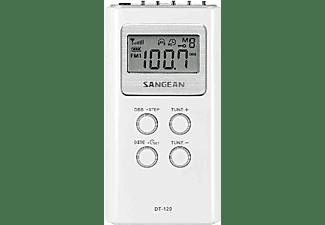 Radio portátil - Sangean DT-120, AM/FM, Pantalla LCD, Blanco