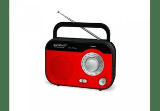 Radio portátil - Sunstech RPS560 RD Rojo, Sintonizador AM/FM, Pila y red
