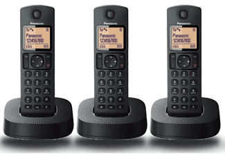 Teléfono - Panasonic KXTGC313SPB, Fijo, Inalámbrico, Trio, LCD, Localizador, Bloqueo de Llamadas, ECO, Negro