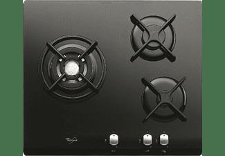Encimera - Whirlpool AKT404/NB GAS BUTANO, 3 quemadores, Acabado Cristal Negro, Válvula de