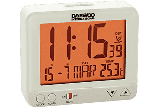 Despertador - Daewoo DCD 200 W, Repetición de alarma, Panel LCD, Blanco
