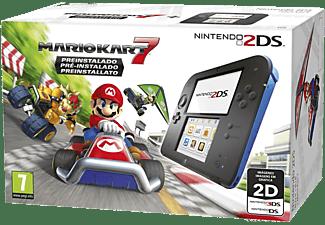 Consola - Nintendo 2DS, Azul y Negra + Juego Mario Kart 7 (Preinstalado)