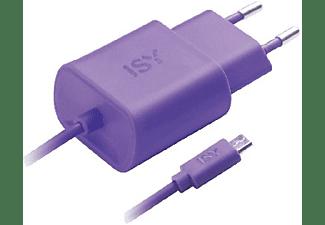Cargador para móvil - ISY IWC 3000, Púrpura, MicroUSB