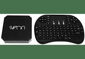 Reproductor multimedia - Sveon SBX600, Teclado Wifi, Android TV, Full HD, Quad Core, 1 GB RAM