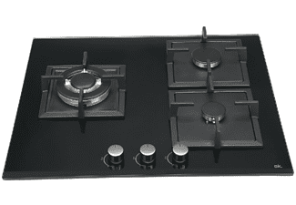 Encimera - OK OBH-46211, Vitrocerámica, Gas, 3 quemadores, Negro