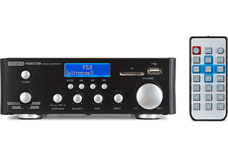 Amplificador HiFi - Fonestar AS-22RUB, negro, estéreo, Bluetooth, reproductor USB, 64W