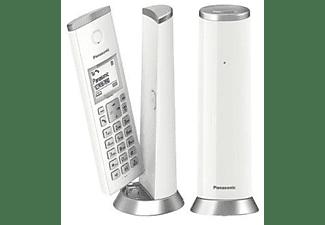 Teléfono - Panasonic KX-TGK212SP, Inalámbrico, Duo, ECO, 40 tonos, Bloqueo de llamadas, Agenda 50 num, Blanco