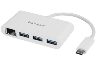 Hub USB - StarTech.com HB30C3A1GEA Concentrador USB 3.0 USB-C a 3 Puertos USB-A y Red Blanco