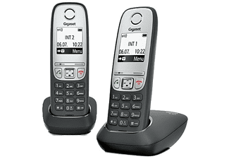 Teléfono inalámbrico - Gigaset DUO A415, Agenda 100 nombres, Marcación rápida, Negro