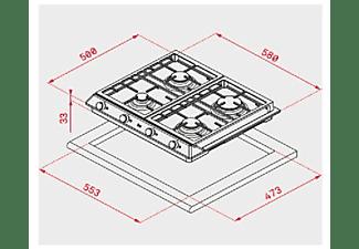 Encimera - Teka EX 60.1 4G AI AL DR CI BUT, Acero inoxidable, Gas, 4 quemadores