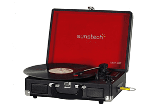 Tocadiscos - Sunstech PXR6SBT, Bluetooth, USB, SD, Radio FM, AUX, RCA, 2 Altavoces, Negro