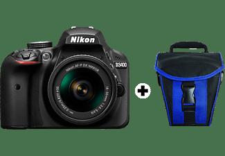 Cámara réflex - Nikon D3400, Sensor DX, 24.2 MP, Vídeo Full HD + Objetivo AF-P DX 18-55mm